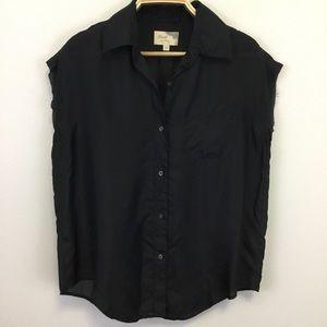 100% Silk Black Raw edge Sleeveless Blouse - S